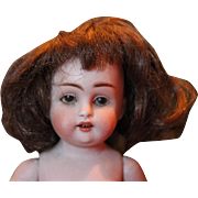 """7"""" tall Kestner All Bisque 150 doll, with damage, hairlines, cracks and chips, needs restoration! Cute character mold! Restoration Project!!"""