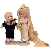 Adorable wedding couple! Antique Kestner 143 Bride and Antique Googly Groom #254. Original Bridal gown outfit.