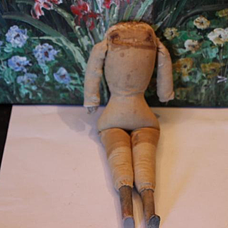 """Old cloth doll body needs work, clearance price! 10"""" tall no hands or shoulderhead. For Repair! Bisque lower legs"""