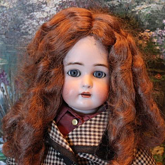 """Vintage synthetic doll wig for an 11"""" head circumference. Not human hair. Nice warm brown color, chocolate color! No doll included."""