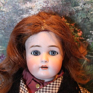"""Auburn brown human hair vintage doll wig for your dolls. 10-11"""" head circumference."""