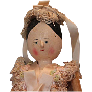 """9 1/2"""" Grodnertal type wood wooden doll, with wood limbs, painted hands, socks and shoes. Vintage Era."""