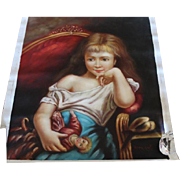 """Nice unframed oil painting of girl with antique doll, sitting in a chair. Needs framing! 27"""" X 22 3/4"""" in size. Beautiful!"""