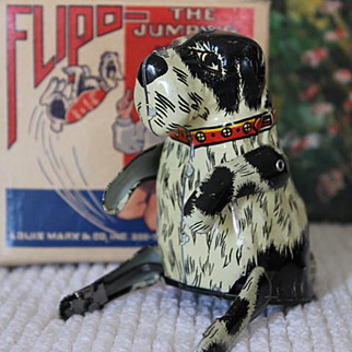 Vintage Louis Marx 1930's, Tin Wind Up Toy, Flipo the Jumping Dog Toy in original box, Sale Priced NOW!!