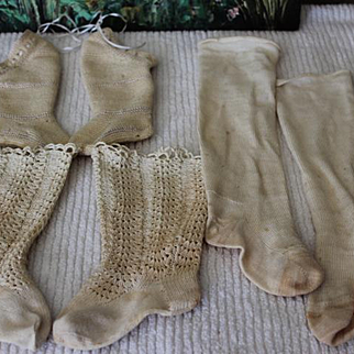 3 Pair of old doll socks for large doll feet! Socks Do NOT Stretch!!