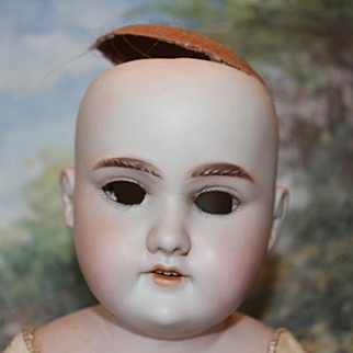 "Antique German Floradora project doll. Marked body  20"" tall. No hairlines, sleep eyes are included, but not set. shoes socks, leather body, cloth legs. shoulderhead."