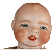 """16"""" Antique German Kestner Century Baby with head 2 areas that have hairlines. Poor Baby! German bisque head, plastic arms, comes with gown and bonnet."""