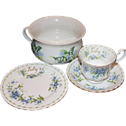 Royal Albert set! England bone china group. Tea cup, saucer, dessert plate, and bowl set, all Forget me knot pattern. Port meirion Pottery, England