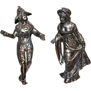"Napoleon and Josephine Pot Metal figures, for a clock, 3 1/2"" tall and weights 6.25 ounces. clock parts, figures. antique. Clock Repair parts."