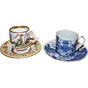 2 demitasse cup and saucers. One Capodimonte and the other is Victorian Cross Tea