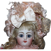 "FG Block Letter Gaultier French Antique Bebe Doll! Rare small size! Marked Aux Infants Sages on back of body. Antique Jumeau wig! reset eyes. 10 1/2"" tall in size!"