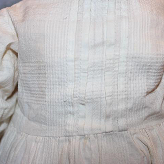 """Doll Dress, 16 1/2"""" long from shoulder to hem,  cotton, pleats, crochet at the bottom, pantaloons, 2 slips for  20-22"""" tall doll."""