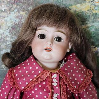 "Antique German Bisque head Kestner doll #129, 14 1/2"" tall, replaced forearms, no hairlines, sleep eyes, lower eyelid flake, left eye, brown eyes, plaster pate, strung well!"