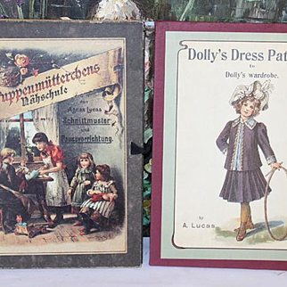 Set of 2 doll dress making patterns in book form,  full size patterns included. One book is in German, the other book English. More patterns than shown! Antique pattern styles.