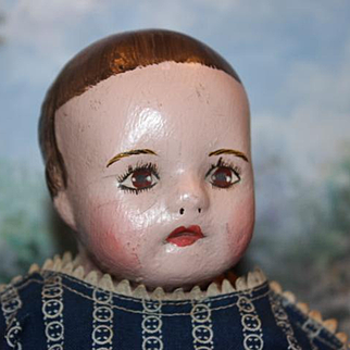 """Sweet and hard to find Ella Smith  Antique Alabama Baby doll, Great condition, marked body, only 14"""" tall in size!"""