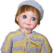 "Armand Marseille Antique German Bisque head, composition body, Googly ,#253 mold number, set blue eyes, crochet outfit, human hair wig. Adorable! 7"" tall."