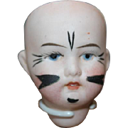 Herm Steiner Antique Bisque doll head only. Painted face.  No body.