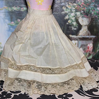 Antique  lace and cotton doll slip for your doll.  doll clothes, accessories , trousseau. lace insertion.