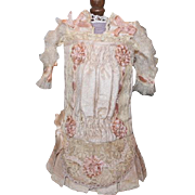 """Pale Pink Beautiful doll dress from France! Great for your Bebes, Antique doll dress, for 13-14"""" tall doll. Doll Clothes, trousseau!"""