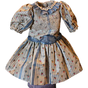 """Lovely silk and lace flower print doll dress, should fit a 13-14"""" tall doll! Cotton lined throughout."""
