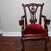 """Chippendale large doll chair, 1980's wood and red velvet doll chair! 25 1/2"""" tall X 15"""" wide X 14"""" deep in size. For larger dolls! Antique style chair. Crack on upper  chair area."""