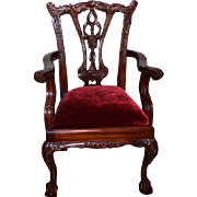 "Chippendale large doll chair, 1980's wood and red velvet doll chair! 25 1/2"" tall X 15"" wide X 14"" deep in size. For larger dolls! Antique style chair. Crack on upper  chair area."