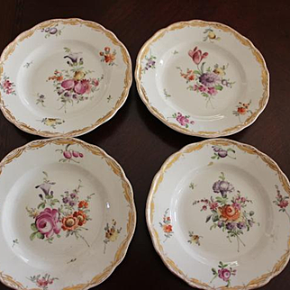 """4 Antique Meissen German Crossed Swords mark on bottom of small 6""""  plates. Gold scalloped trim and different floral patterns on each plate! 19th Century,"""