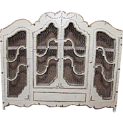 """Wonderful and hard to find 1"""" scale Armoire from France! Wood with mesh screens, all original! 6 1/2"""" tall X 7 3/4"""" long X 2 1/4"""" deep in size! Doll House furniture."""