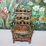French doll house chair, made of metal, Throne style chair, perfect for a princess in your doll house! Fleur de lys on the seat! doll furniture!