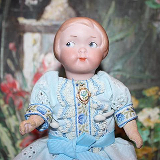 "Armand Marseille,  German AM 210 doll. bisque head, replaced crude 6 7/8"" tall, body parts, hairline on side of head, see picture."