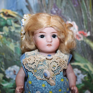 "5 3/4"" tall Alt Beck & Gottschalk, ABG All bisque doll, German, Marked 83/100 on the back of head, newer clothes. Mohair wig. German Bisque doll."