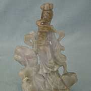 Antique Chinese 19th century Qing Dynasty Carved Jade  Jadeite Statue Lady Figurine