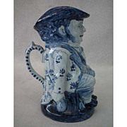 Antique Delft Blue and White Toby Jug 19th century