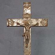Antique 17th century Baroque silver Crucifix Cross