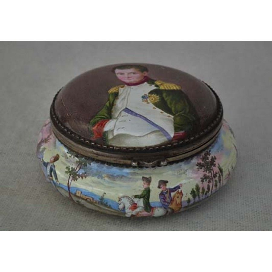 Antique Austrian  Viennese Silver Enamel Napoleonic Snuff Box with Napoleon by Herman Boehm Wienna