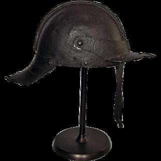Antique 17th c English Cromwellian Lobster - Tail helmet Harquebusier Pot