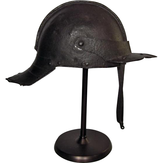 Antique 17th c English Cromwellian Lobster - Tail helmet Harquebusier Pot