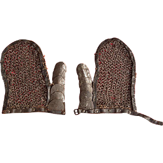 Antique 17th century Polish Hussar Karacena Armor Mail Mittens