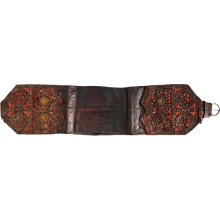 Antique 19th Century Polish Leather Money Belt Pas Trzos Krakowski