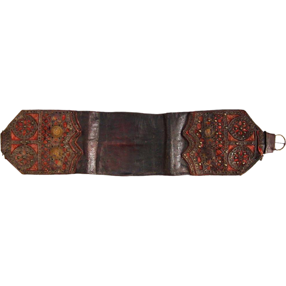 Antique 19th Century Polish Leather Money Belt Pas Trzos Krakowski
