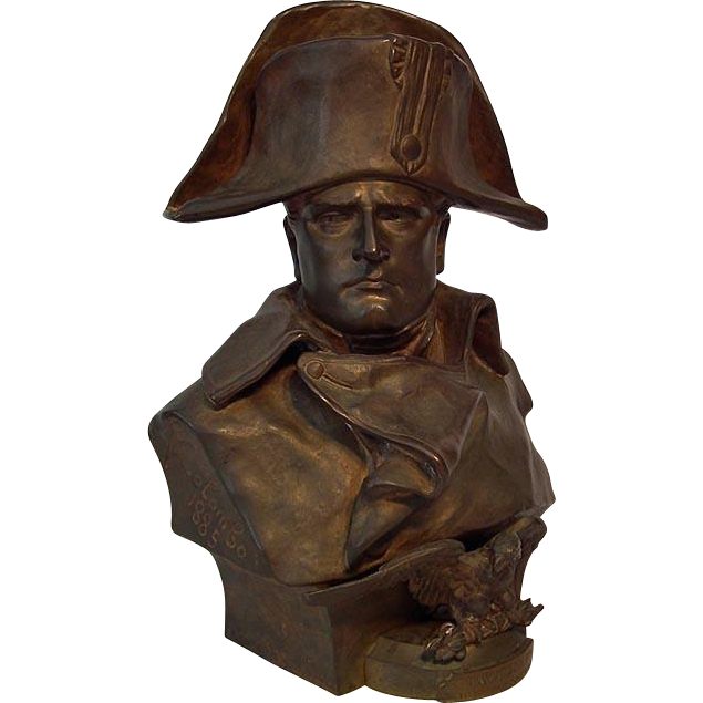 Antique 19th c Large Bronze Sculpture Bust of Napoleon by R. Colombo 1885