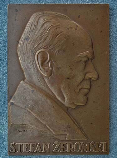 Antique 1926 bronze plaque Polish Stefan Zeromski by J.Aumiller Mennica Panstwowa Polish State Mint
