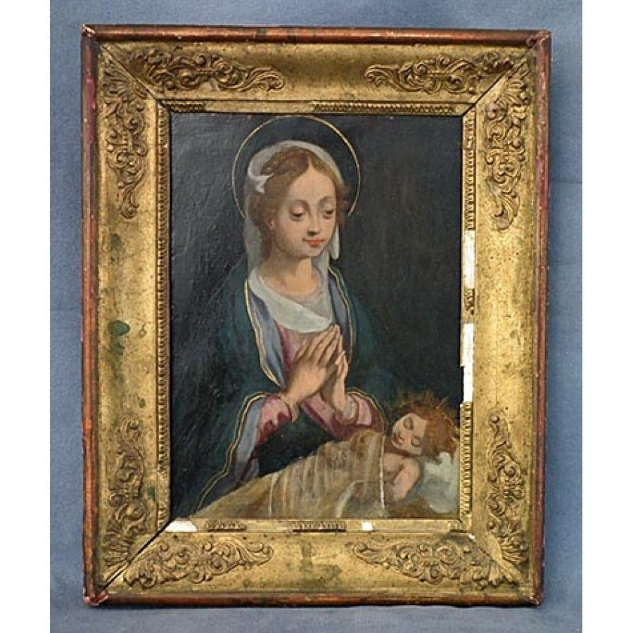Antique 17th century Painting Virgin Adoring the Sleeping Christ Child