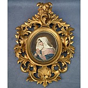 Antique early 18th -19th century Painting of Virgin Mary