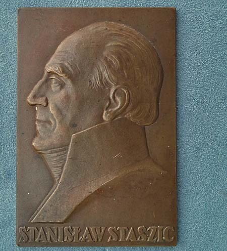 Antique 1926 bronze plaque Polish Stanislaw Staszic by J.Aumiller Mennica Panstwowa Polish State Mint