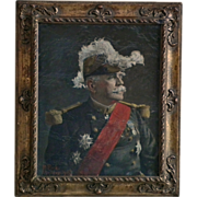 Antique Painting Portrait French Marshal Joseph Jacques Cesaire Joffre by H. Rick