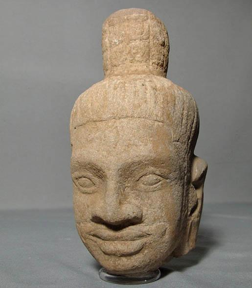 Antique Khmer Sandstone Head Of Shiva Bayon Period 12h century A.D.