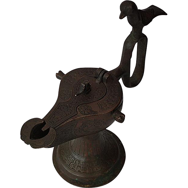 Antique Medieval Islamic Seljuk Seljuq Turks Bronze Oil Lamp Khorasan 12th C