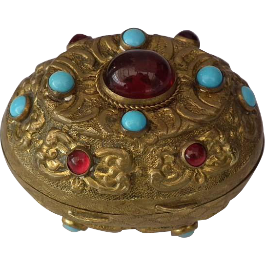 Antique 18th -19th c Turkish Ottoman Jeweled Tombak Gilt Copper Alloy Snuff Box