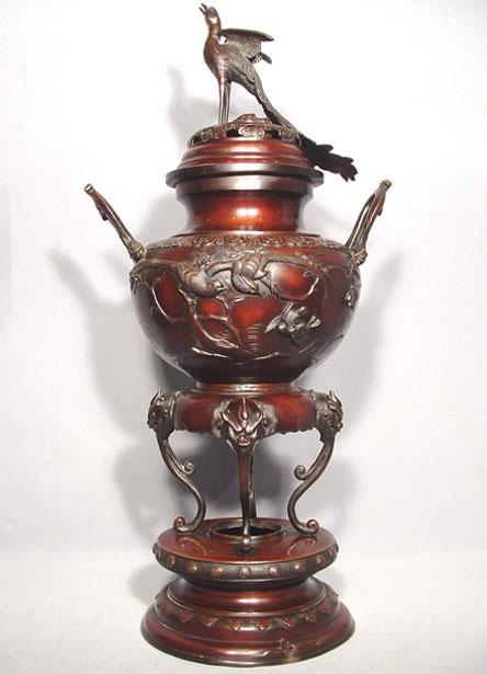 Antique Japanese Bronze Censer, Meiji Period (1868-1912)